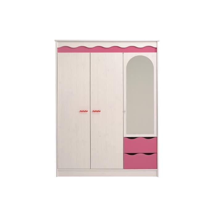 Armoire enfant 3 portes miroir int gr 2 tiroirs pink achat vente armoire de chambre - Fixer un miroir sur une porte ...