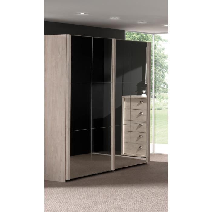 Armoire contemporaine 2 portes coulissantes avec miroir for Armoires portes coulissantes miroir