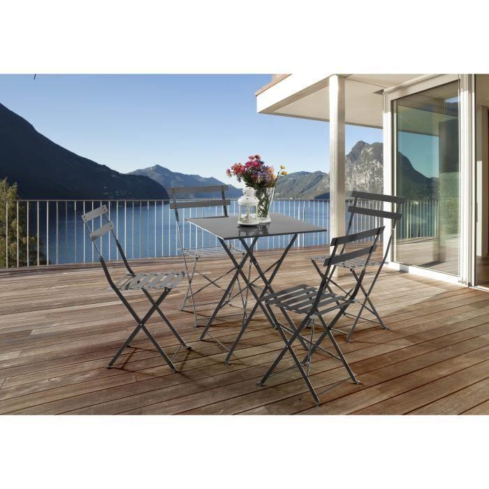 le m line salon de jardin m tal pliable 4 pers achat. Black Bedroom Furniture Sets. Home Design Ideas