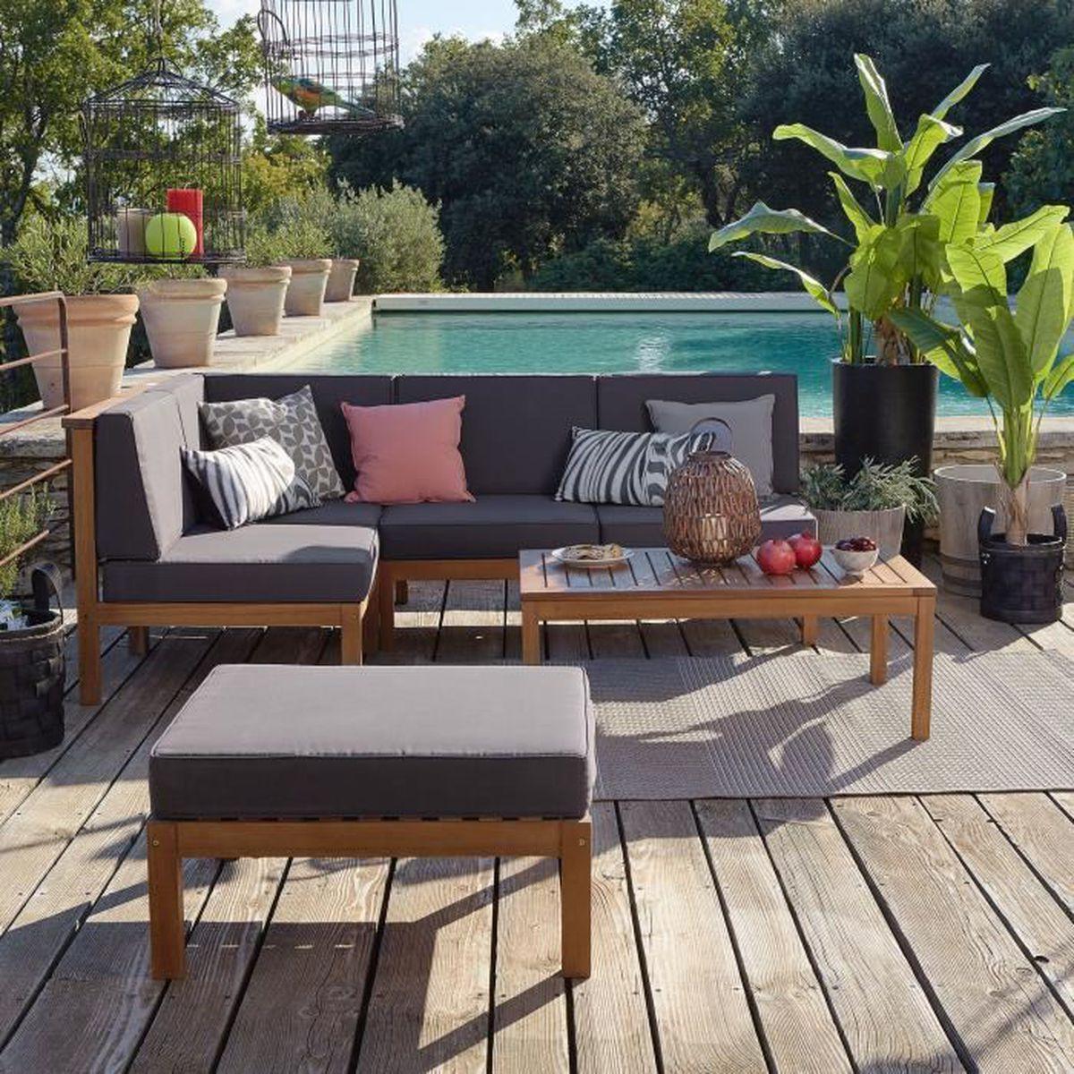 cocoon jardin salon de jardin en acacia massif 4 places
