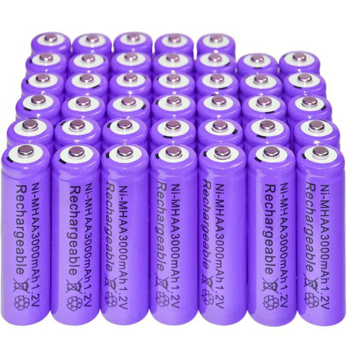 40x aa 3000mah pile 1 2 v ni mh rechargeable 2a couleur - Pile rechargeable 1 5v ...