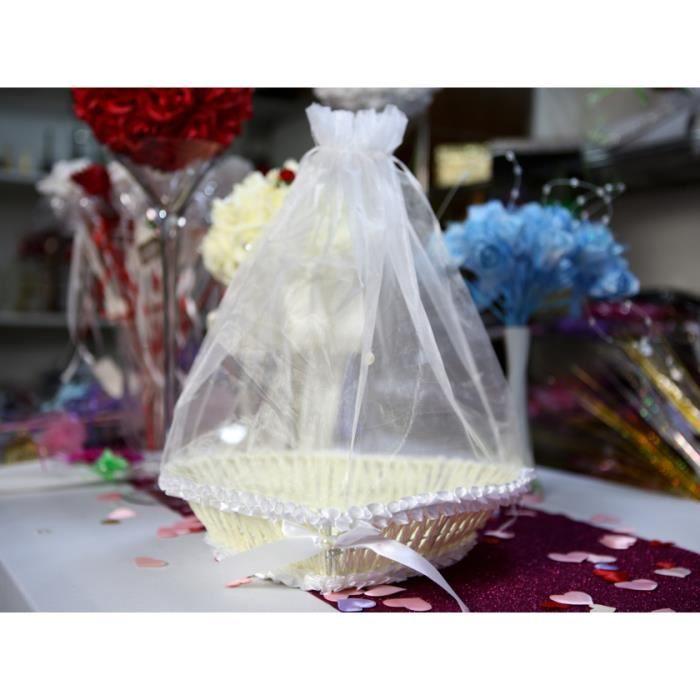 Panier c ur osier avec sac organza pour mariage mpc3 achat vente kit de decoration cdiscount - Panier en osier avec couvercle ...