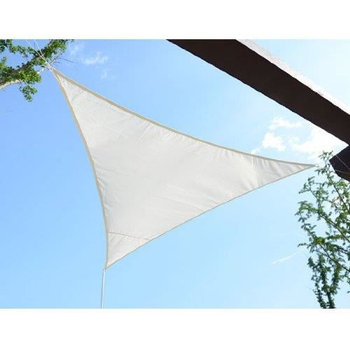 Voile d 39 ombrage imperm able triangulaire 6x6x6m cr me for Parasol impermeable terrasse