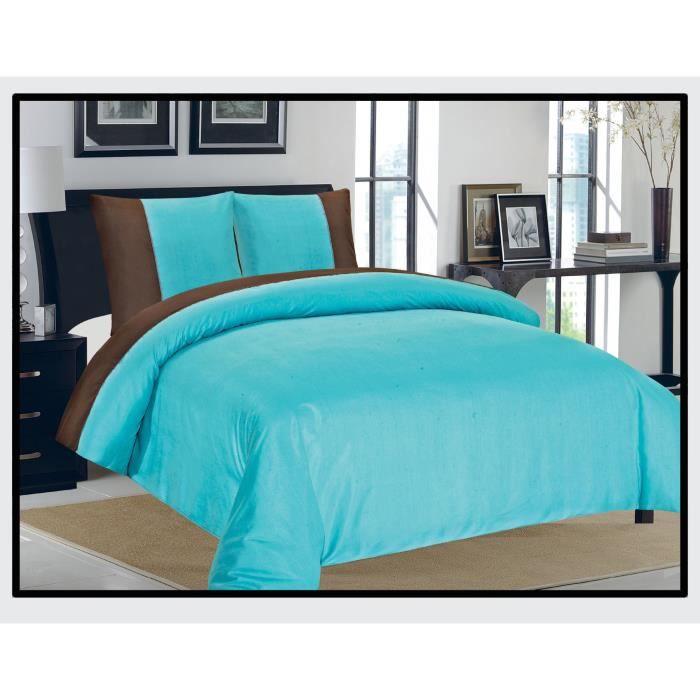 housse de couette et taies d 39 oreiller 2 personnes emeraude bicolores turquoise choco la clef. Black Bedroom Furniture Sets. Home Design Ideas