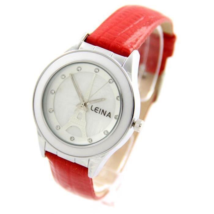 jolie montre femme cuir rouge leina 1293 achat vente montre cdiscount. Black Bedroom Furniture Sets. Home Design Ideas