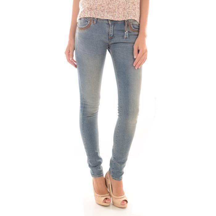 jeans slim femme kaporal bleu achat vente jeans cdiscount. Black Bedroom Furniture Sets. Home Design Ideas