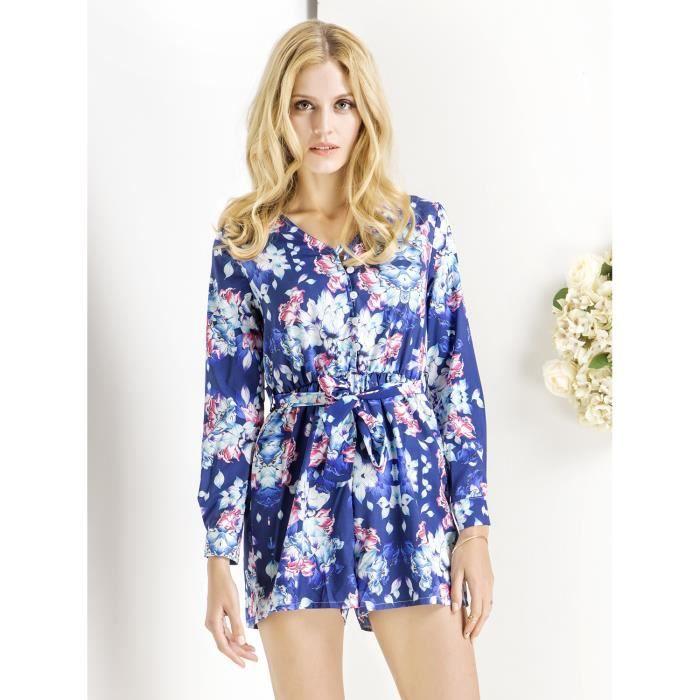 combishort femme fleur manches longues bleu choies bleu bleu achat vente combinaison. Black Bedroom Furniture Sets. Home Design Ideas