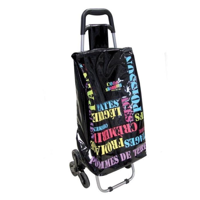 paris prix chariot de courses 6 roues imprim lettres noir achat vente poussette de marche. Black Bedroom Furniture Sets. Home Design Ideas