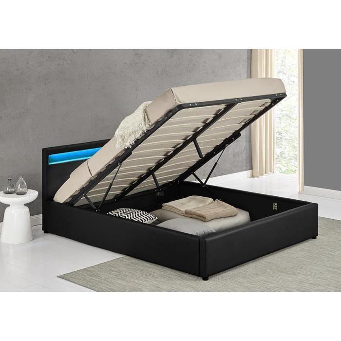 Lit coffre led 160x200 tr sor pu noir achat vente structure de lit lit - Lit coffre dunlopillo 160x200 ...
