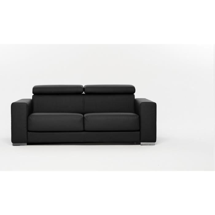 canap convertible lit riga simili cuir noir achat. Black Bedroom Furniture Sets. Home Design Ideas