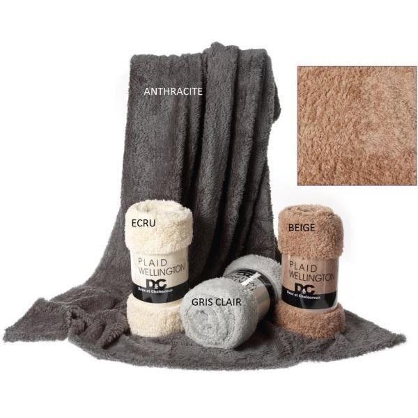 plaid 130x150 cm couleur gris clair mouton wellington. Black Bedroom Furniture Sets. Home Design Ideas