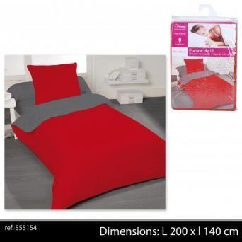 parure de lit compl te 1 personne bicolore rouge achat. Black Bedroom Furniture Sets. Home Design Ideas