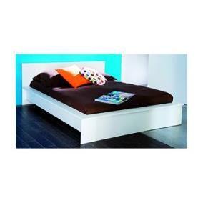 Lit 140x190 39 esther 39 blanc perle achat vente structure de lit c - Lit 140x190 cdiscount ...