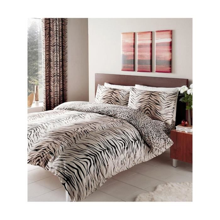 parure de couette tigre et l opard 2 personnes lit 160 cm achat vente housse de couette. Black Bedroom Furniture Sets. Home Design Ideas