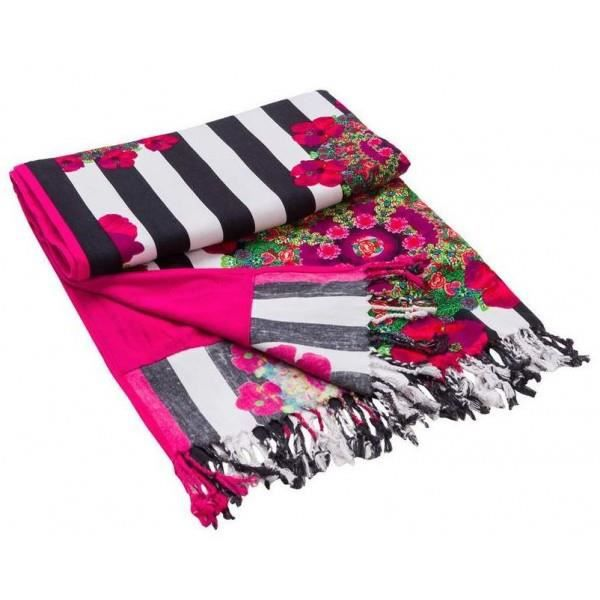 serviette de plage desigual rayures imprim fleur 52w58a3 2000 noir achat vente sacoche. Black Bedroom Furniture Sets. Home Design Ideas