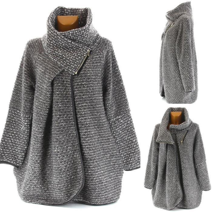 manteau cape laine grande taille carlotta gris achat vente manteau caban soldes. Black Bedroom Furniture Sets. Home Design Ideas