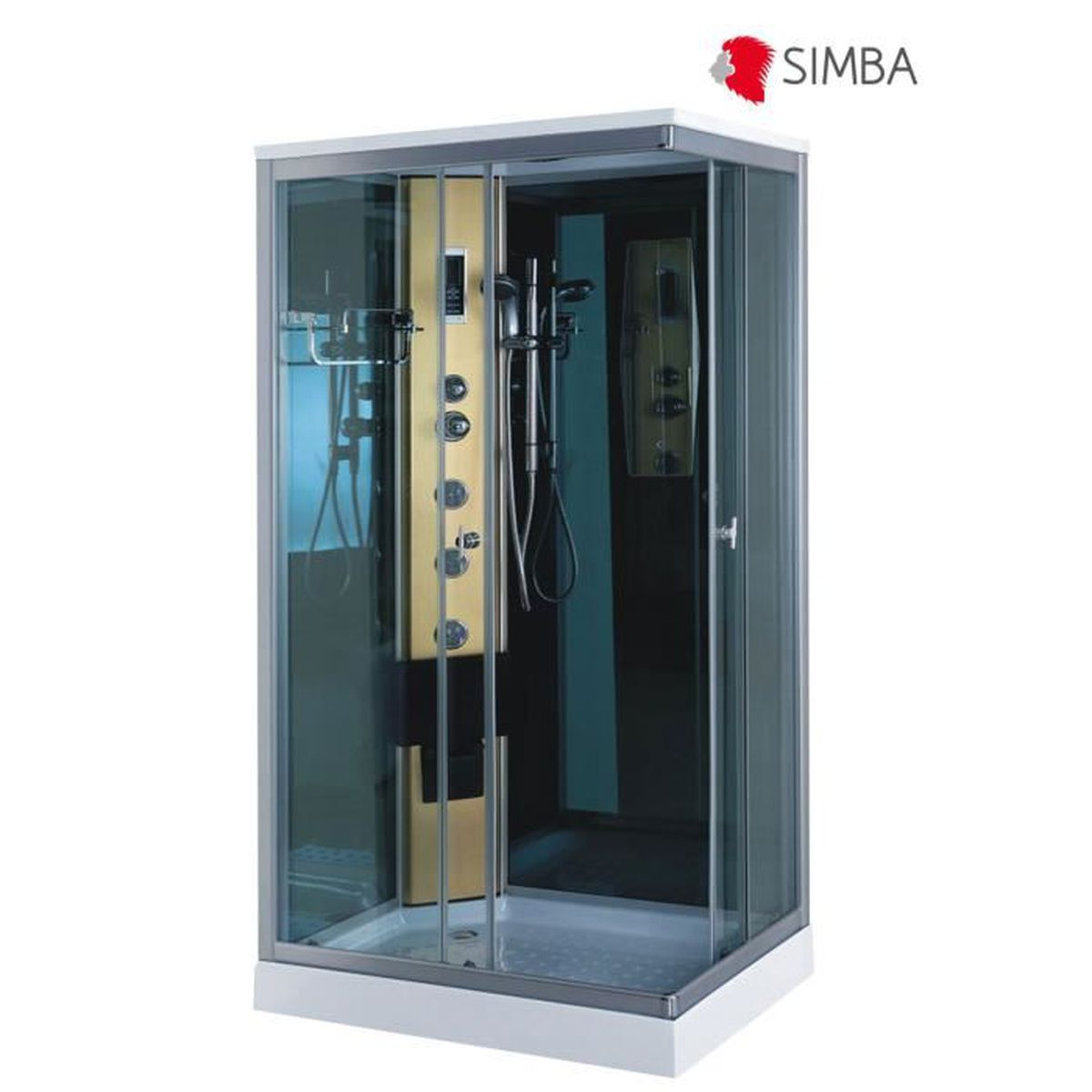 Cabine de douche hydromassante spa bain massage 100 x 70 cm verre 5 mm portof - Cabine de douche integrale 70 x 100 ...