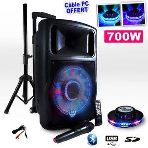 ENCEINTE ET RETOUR Enceinte Mobile FUZZY12BT LED sur Batterie 700W 12