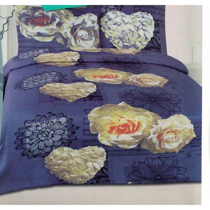 parure de drap 2 personnes 4 pi ces parure de lit achat vente parure de drap cdiscount. Black Bedroom Furniture Sets. Home Design Ideas