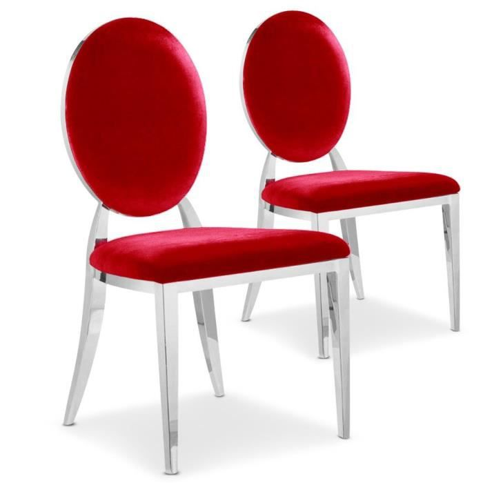 Lot de 2 chaises cassandra en velours rouge achat - Chaise velours rouge ...