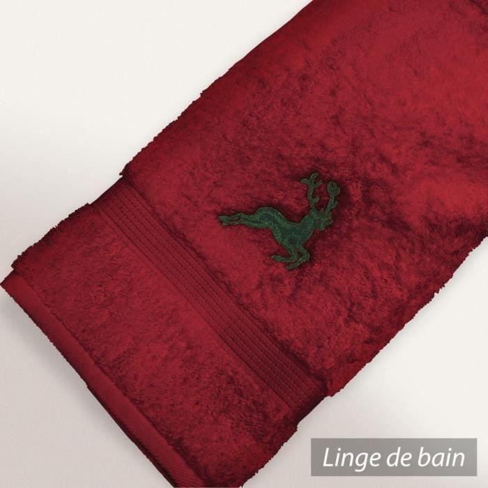 serviette invit 233 30x50 cm hirsh bordeaux vert 6 achat vente serviettes de bain cdiscount