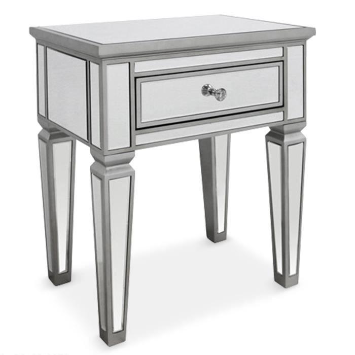 table de chevet miroirs cicero achat vente chevet table de chevet miroirs cicero cdiscount. Black Bedroom Furniture Sets. Home Design Ideas
