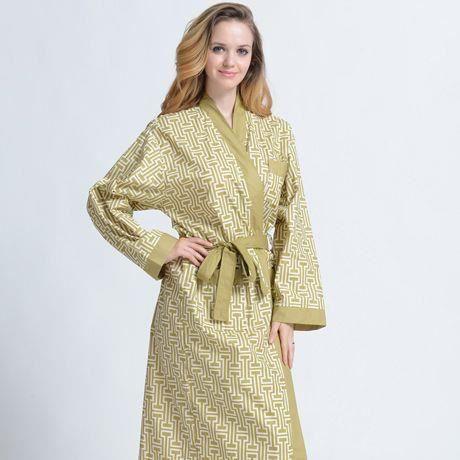 Peignoir d 39 et coton col kimono jaune vert femme achat vente peignoir cdiscount - Robe de chambre femme leclerc ...