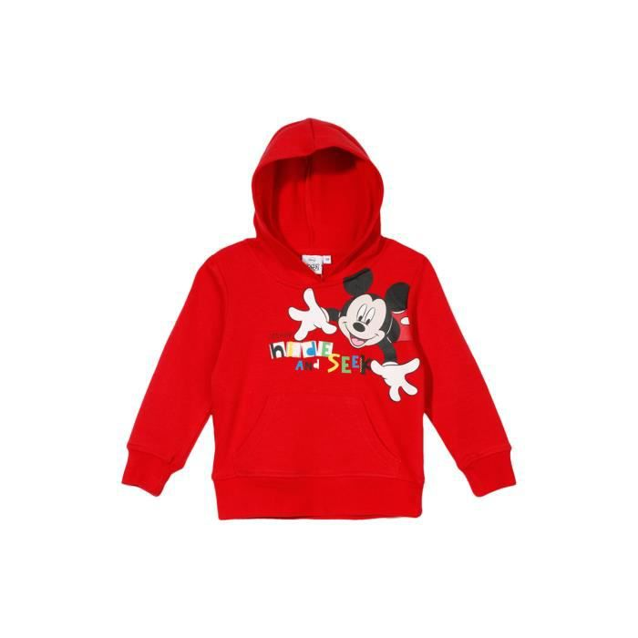 sweat capuche mickey rouge achat vente sweatshirt cdiscount. Black Bedroom Furniture Sets. Home Design Ideas