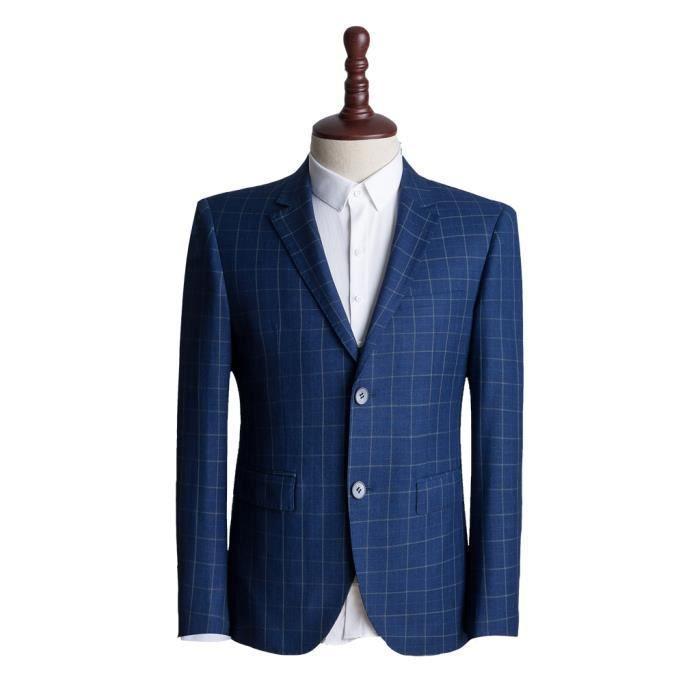 homme classique veste de costume carreaux coupe slim fit bleu bleu bleu achat vente. Black Bedroom Furniture Sets. Home Design Ideas