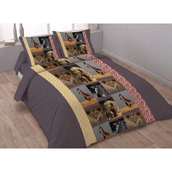 parure drap plat drap housse 160x200 cm 2 taies d oreiller 65x65 cm safari animals dv achat. Black Bedroom Furniture Sets. Home Design Ideas