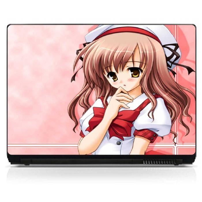 stickers pc ordinateur portable manga pc 15 4 h24 x l35cm achat vente s. Black Bedroom Furniture Sets. Home Design Ideas
