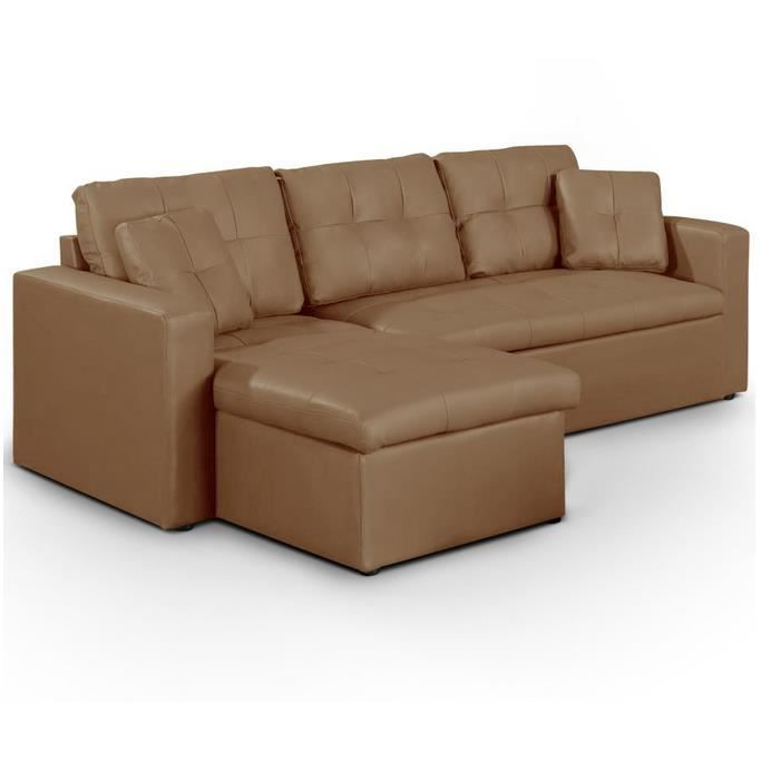 Canap d angle convertible bosier taupe achat vente canap sofa divan - Canape angle cdiscount ...
