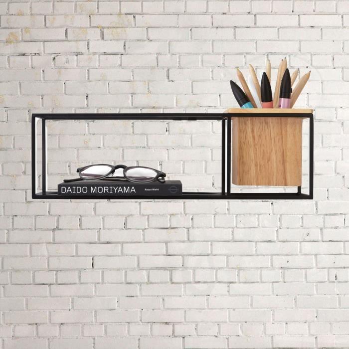umbra etag re m tal noir cubist mod le rectangle achat vente etag re murale umbra. Black Bedroom Furniture Sets. Home Design Ideas