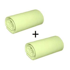 DRAP HOUSSE Pack 2 Draps Housses Jersey Vert Anis Bonnet 28 cm