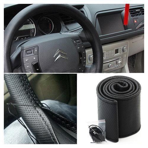 couvre volant de voiture pu cuir noir avec aiguille et fil