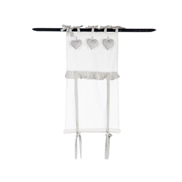 jolipa rideau store blanc et gris et coeurs angelots. Black Bedroom Furniture Sets. Home Design Ideas