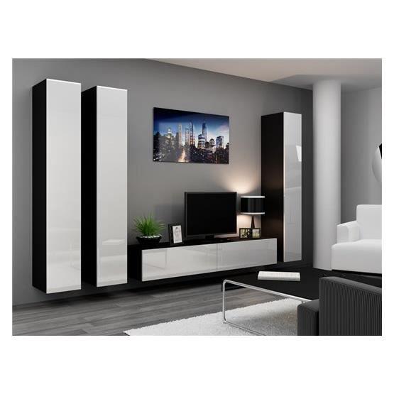 Ensemble meuble tv design suspendu kiko noir et blanc - Ensemble meuble tv design ...