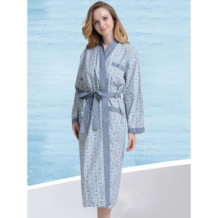 peignoir d 39 et coton col kimono bleu gris femme achat vente peignoir soldes cdiscount. Black Bedroom Furniture Sets. Home Design Ideas