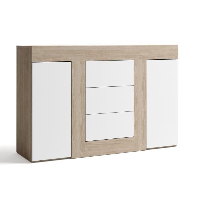 Buffet avec 2 portes et 3 tiroirs coloris blanc ch ne l1400 x h920 x p396 m - Buffet blanc 2 portes ...