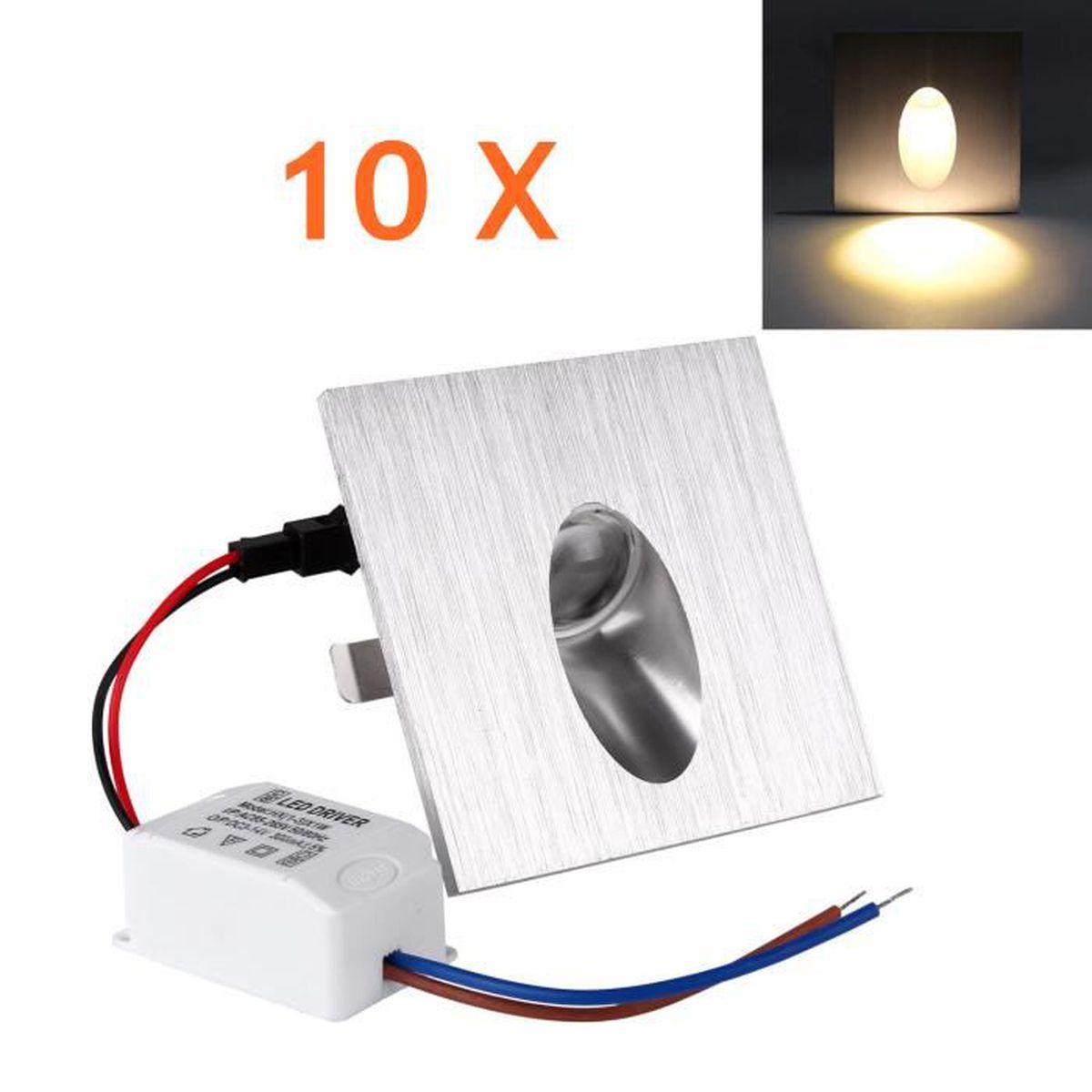 10 Pcs LED Chaud Mural encastré Lampe Spot Carré Coin Mur Escalier Chemin luminaire Magasin