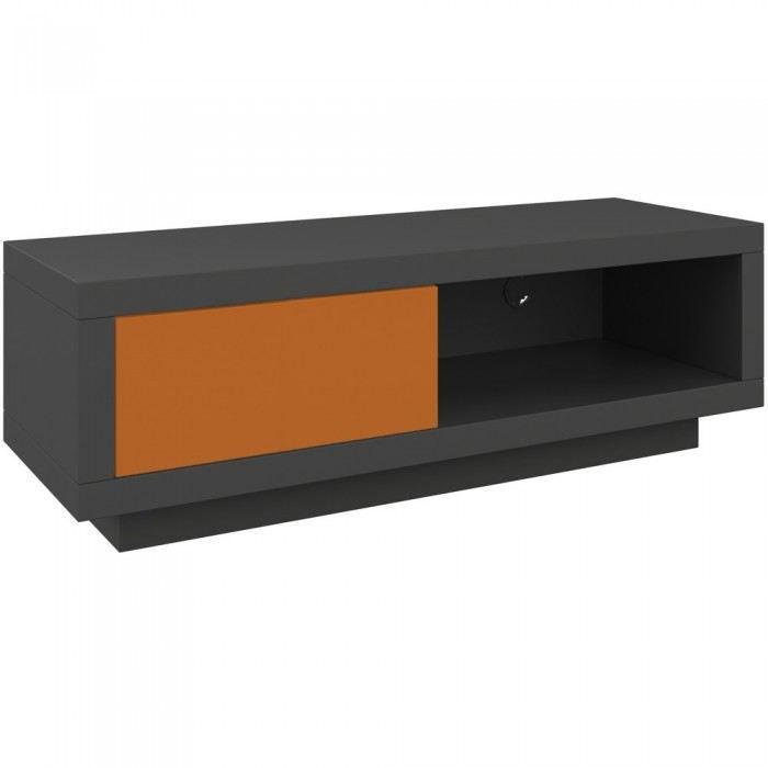 Varic L Anthracite Clapet Orange Achat Vente Meuble Tv