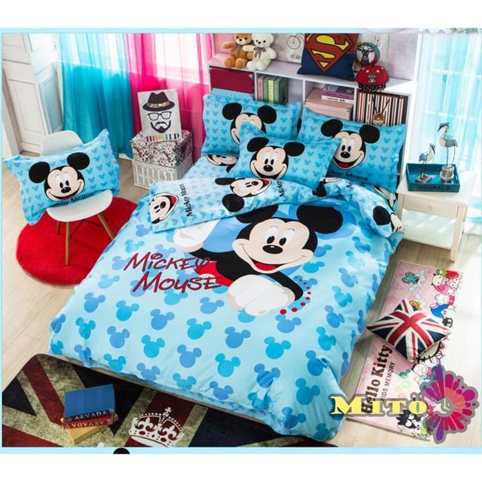 parure de lit mickey coton 160 210 cm 3d effet 3 piece achat vente housse de couette cdiscount. Black Bedroom Furniture Sets. Home Design Ideas