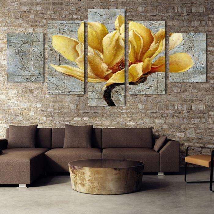 5 tableaux tableau peinture sur toile or orchid e peinture for Peinture sur tableau