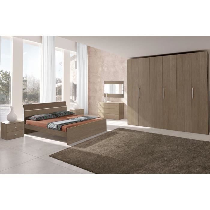 Chambre adulte compl te ginger ch ne gris et blanc c30150g for Achat chambre adulte complete