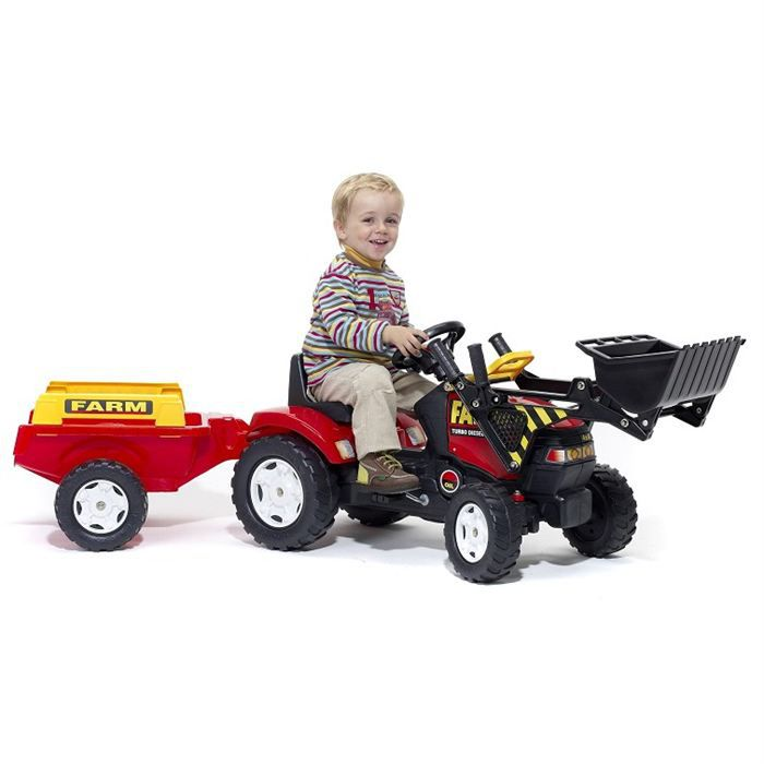 falk tracteur p dales rouge avec pelle frontale et remorque achat vente tracteur. Black Bedroom Furniture Sets. Home Design Ideas