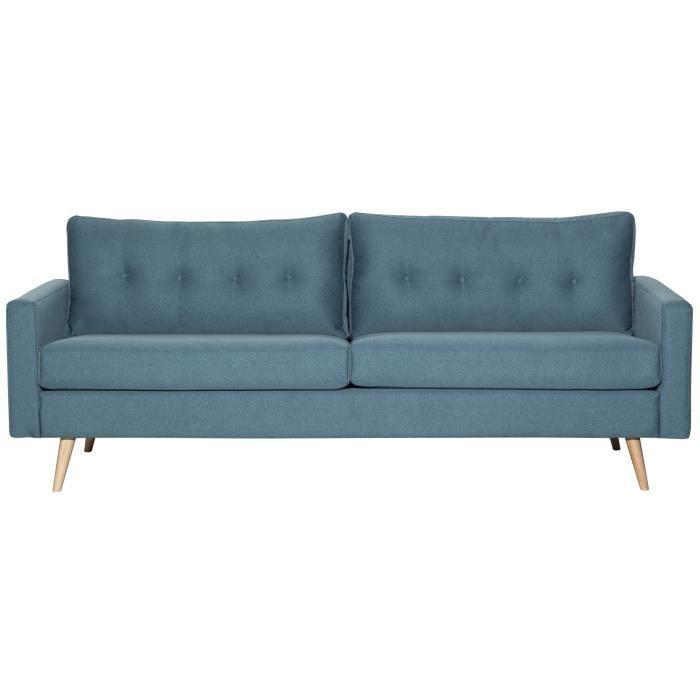 fjord canap droit fixe 3 places 215 x 88 x 75 cm tissu bleu paon achat vente canap. Black Bedroom Furniture Sets. Home Design Ideas
