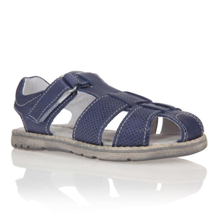 patatras sandales cuir enfant gar on bleu achat vente. Black Bedroom Furniture Sets. Home Design Ideas