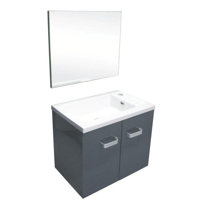 epice meuble sous vasque en bois 50 cm anthracite et blanc achat vente meuble vasque. Black Bedroom Furniture Sets. Home Design Ideas