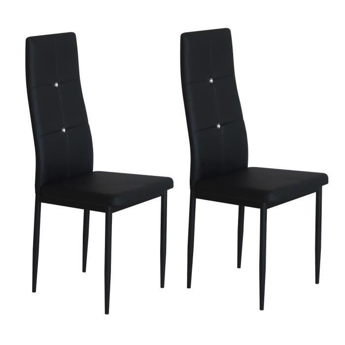 Diamond lot de 2 chaises de salle manger noires strass for Chaises noires salle a manger