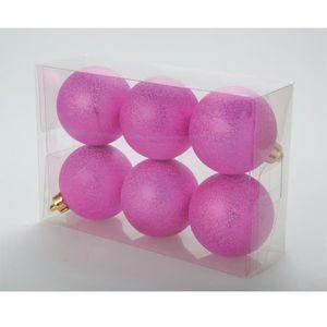 BOULE DE NOËL Set de 6 boules Chic 6 cm de coloris fushia